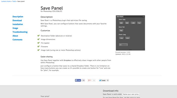 Save Panel-web design